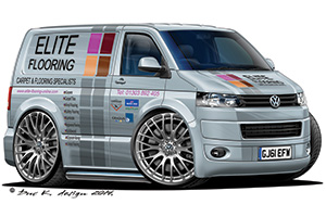 Elite Flooring Vehicle Caricature